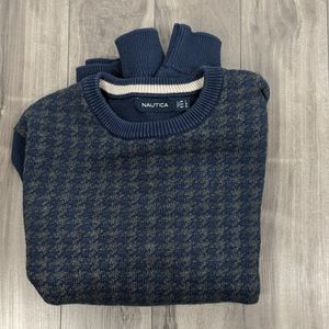 Nautica Large Navy Cotton Houndstooth